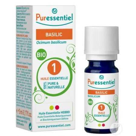 PURESSENTIEL Huile essentielle bio Basilic  - flacon de 5 ml