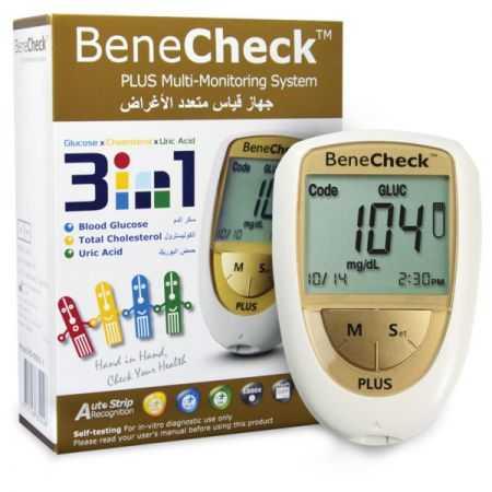 BENECHECK lecteur de glycémie/ cholestérol / acide urique