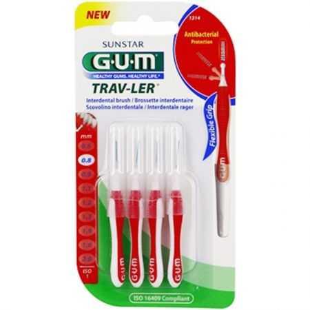 GUM Brossettes interdentaires Trav-ler 0.8mm-4 brossettes-1314