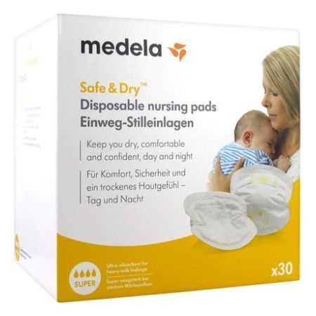 Medela Safe & Dry Super 30 Coussinets d'Allaitement à Usage Unique