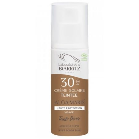 BIARRITZ ALGAMARIS Crème solaire Visage SPF30 TEINTEE DOREE certifiée Bio